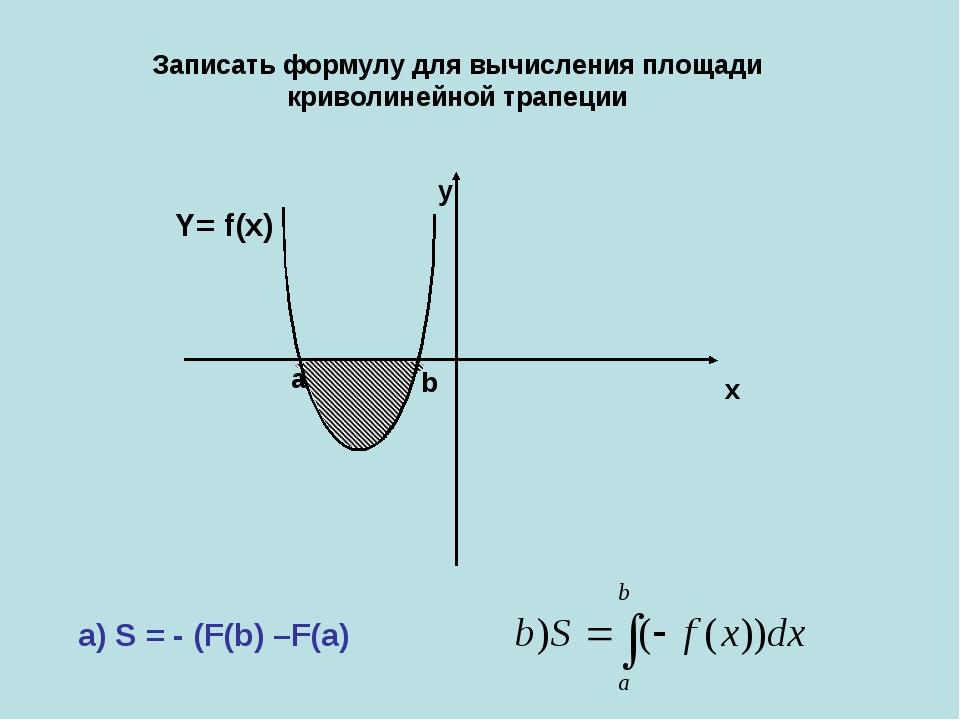 x y а b Y= f(x) a) S = - (F(b) –F(a) Записать формулу для вычисления площади...