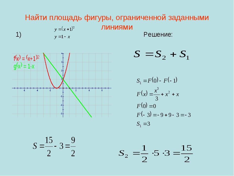 Найти площадь фигуры, ограниченной заданными линиями 1) Решение: