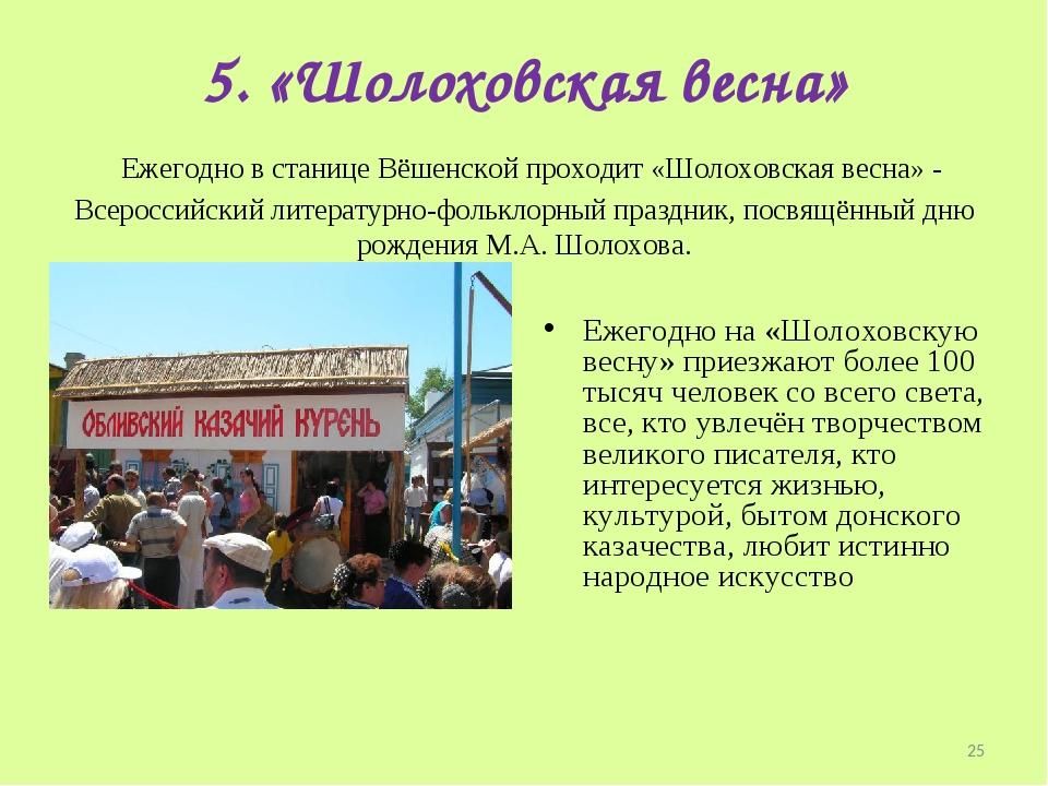 5. «Шолоховская весна» Ежегодно в станице Вёшенской проходит «Шолоховская ве...
