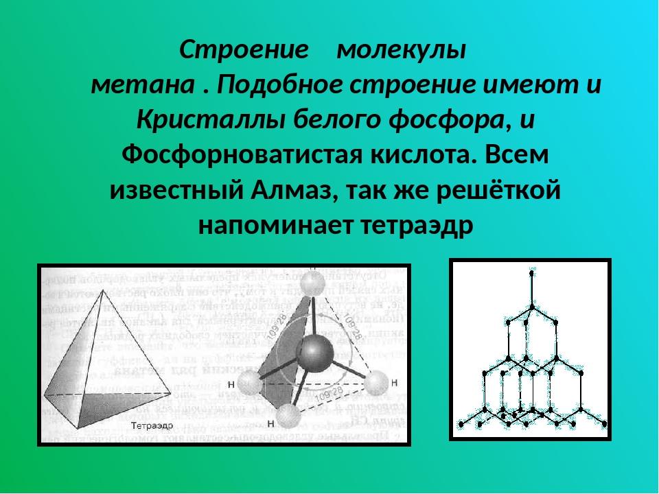 Строение молекулы метана . Подобное строение имеют и Кристаллы белого фосфора...