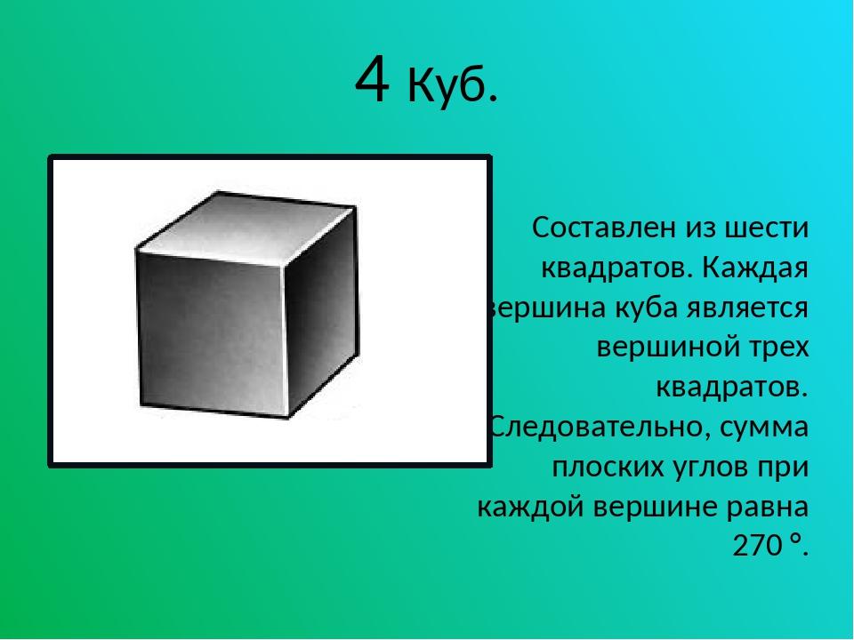 4 Куб. Составлен из шести квадратов. Каждая вершина куба является вершиной тр...
