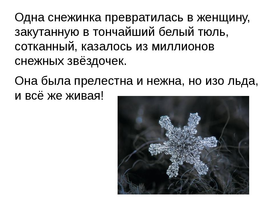 Одна снежинка превратилась в женщину, закутанную в тончайший белый тюль, сотк...