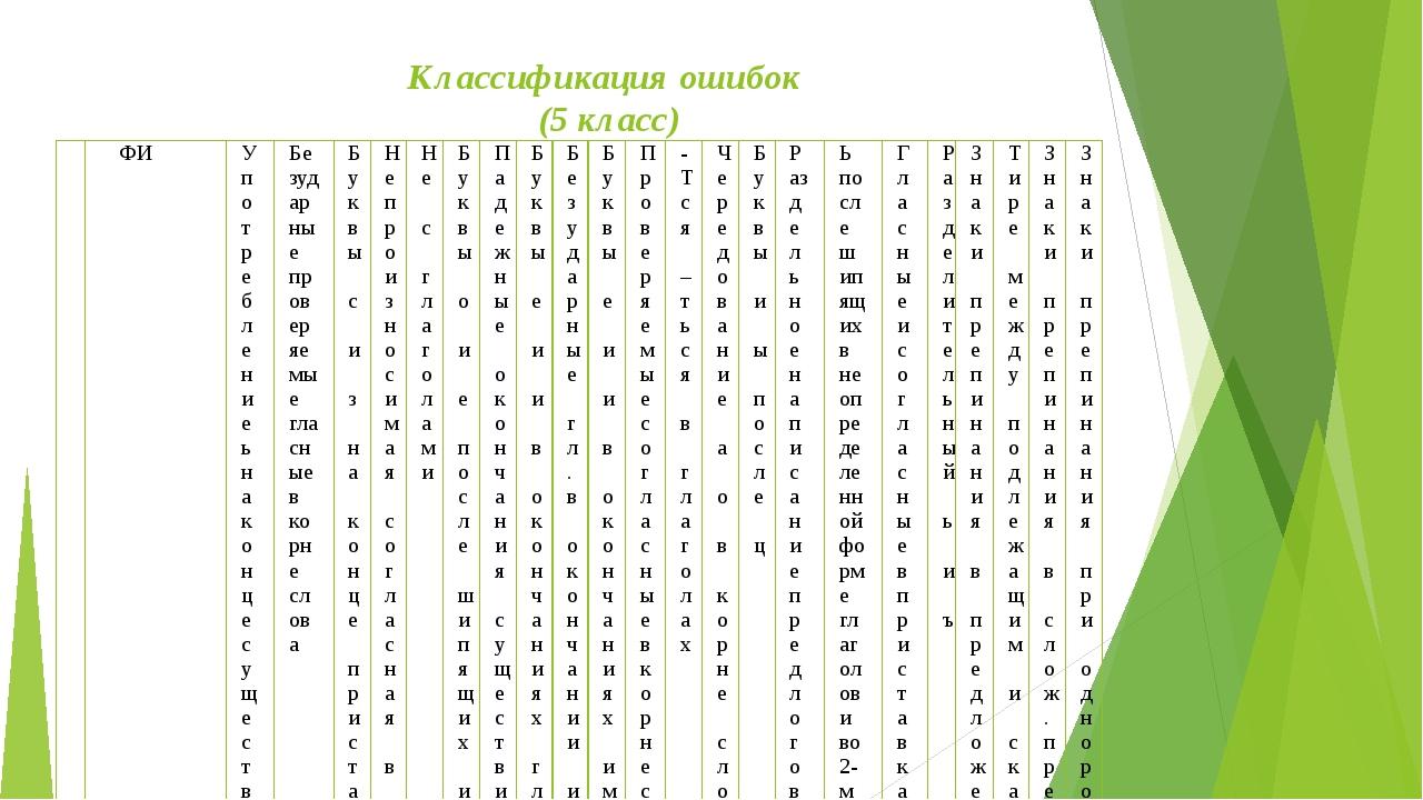 Классификация ошибок (5 класс)  ФИ Употребление ь на конце существительных п...