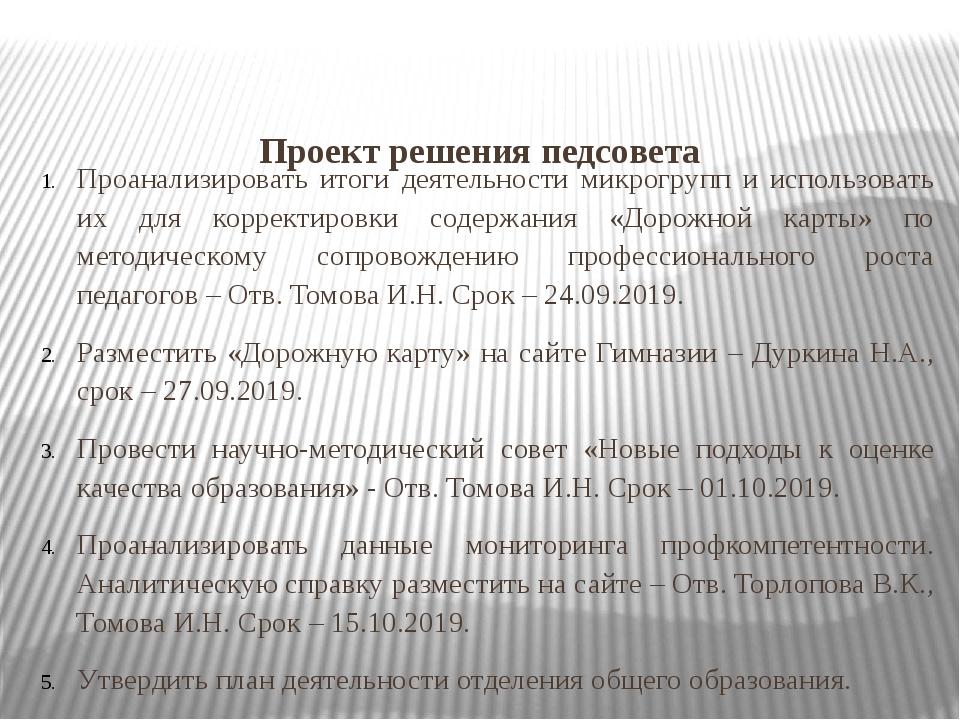 Проект решения педсовета Проанализировать итоги деятельности микрогрупп и ис...