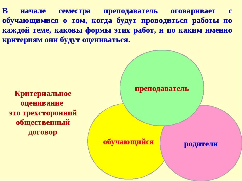 Критериальное оценивание это трехсторонний общественный договор В начале семе...