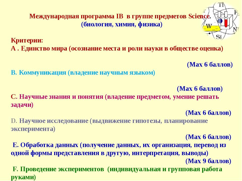 Международная программа IB в группе предметов Science.  (биология, химия, ф...