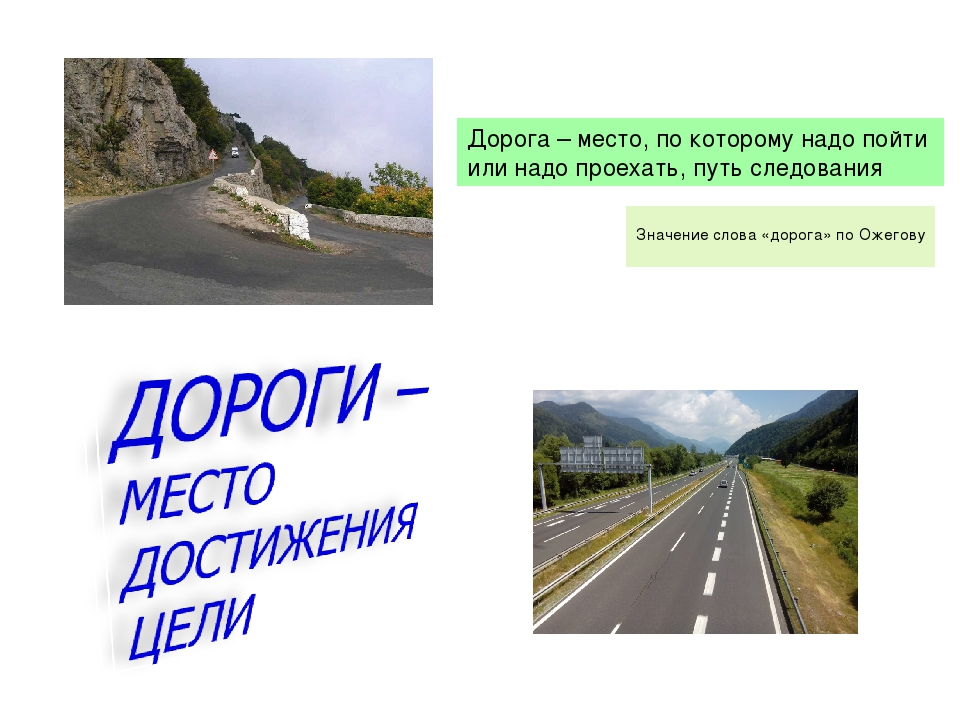 Значение слова «дорога» по Ожегову Дорога – место, по которому надо пойти ил...