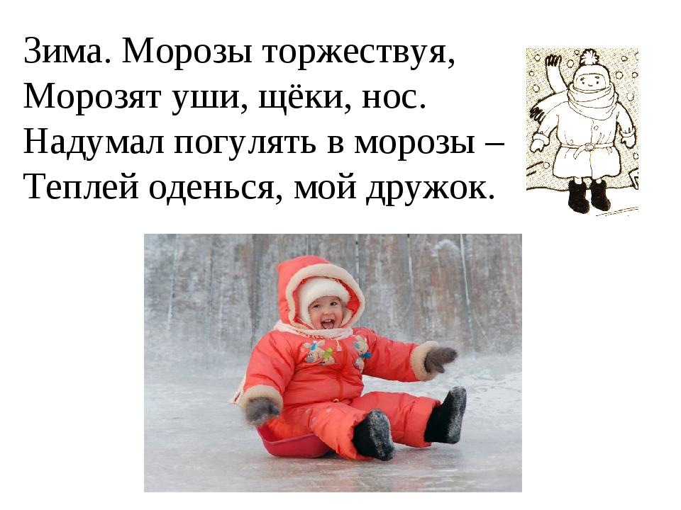 Зима. Морозы торжествуя, Морозят уши, щёки, нос. Надумал погулять в морозы –...