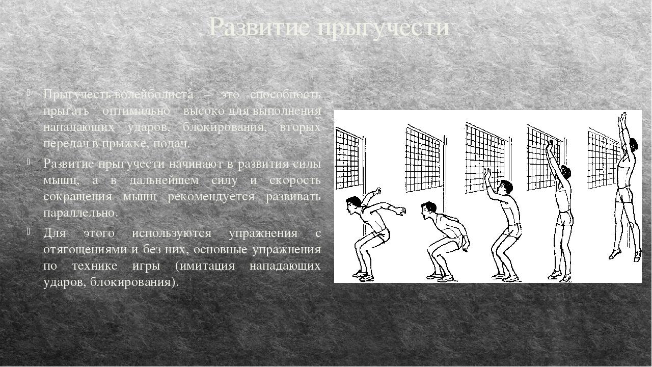 Развитие прыгучести Прыгучестьволейболиста – это способность прыгать оптима...