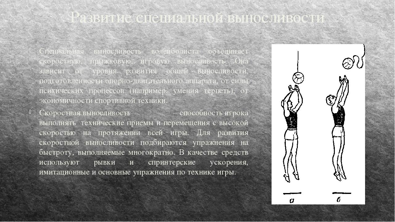 Развитие специальной выносливости Специальная выносливость волейболиста объед...