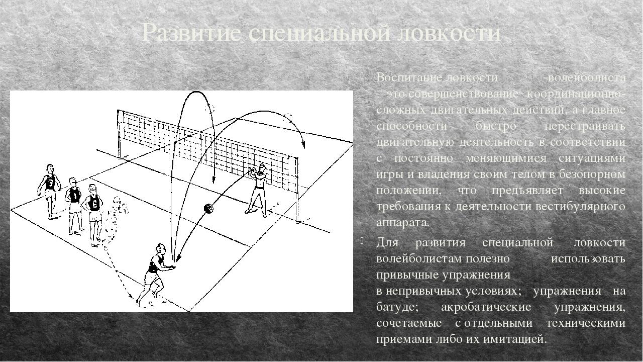 Развитие специальной ловкости Воспитаниеловкости волейболиста –этосовершен...