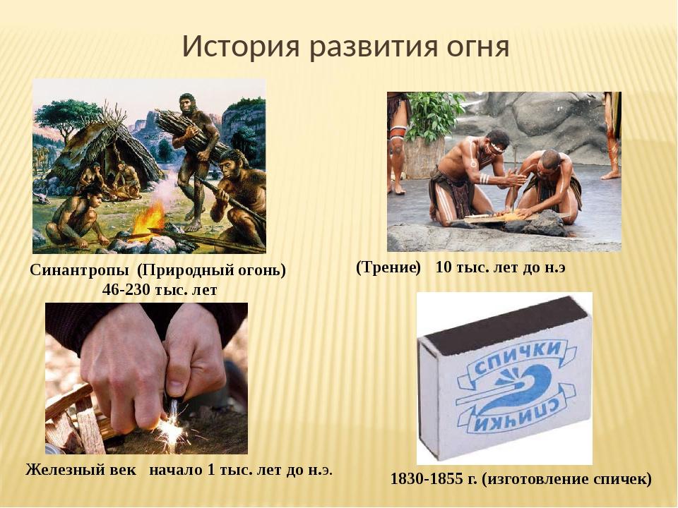 История развития огня Синантропы (Природный огонь) 46-230 тыс. лет (Трение) 1...