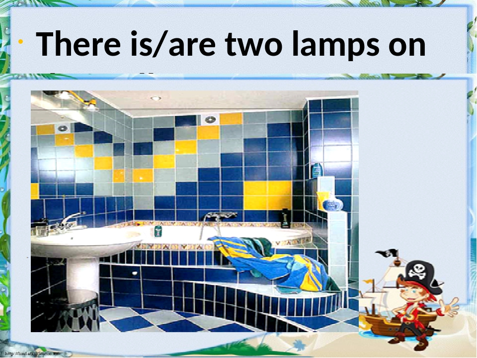 There is/are two lamps on the wall.