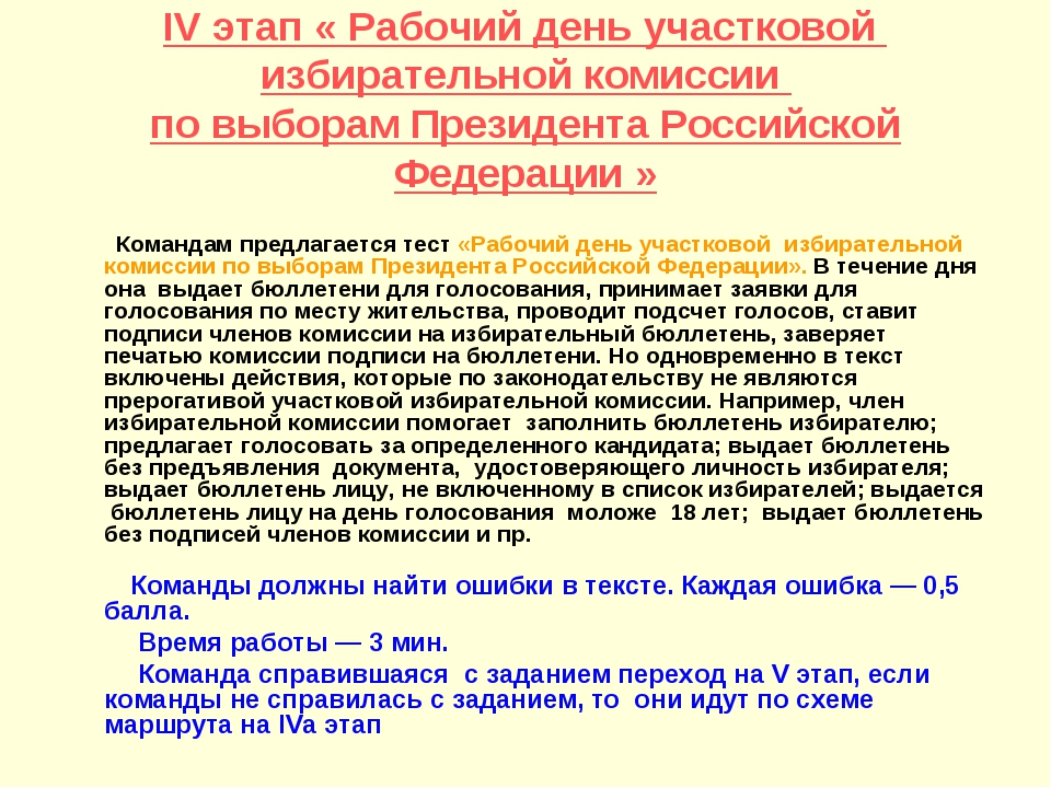 IV этап « Рабочий день участковой избирательной комиссии по выборам Президен...