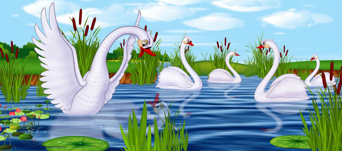 картинки из сказок про лебедя еще
