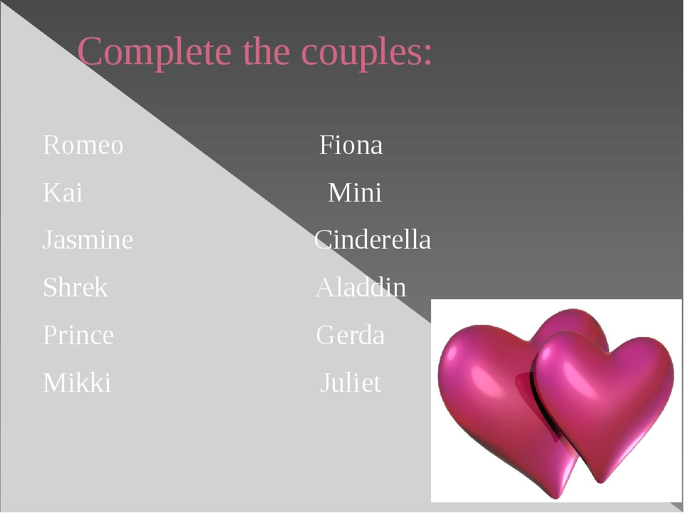 Complete the couples: Romeo Fiona Kai Mini Jasmine Cinderella Shrek Aladdin P...