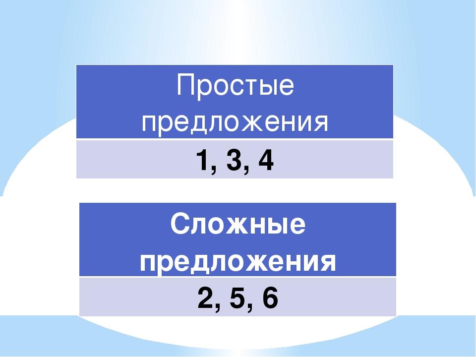 Простые предложения 1, 3, 4 Сложные предложения 2, 5, 6