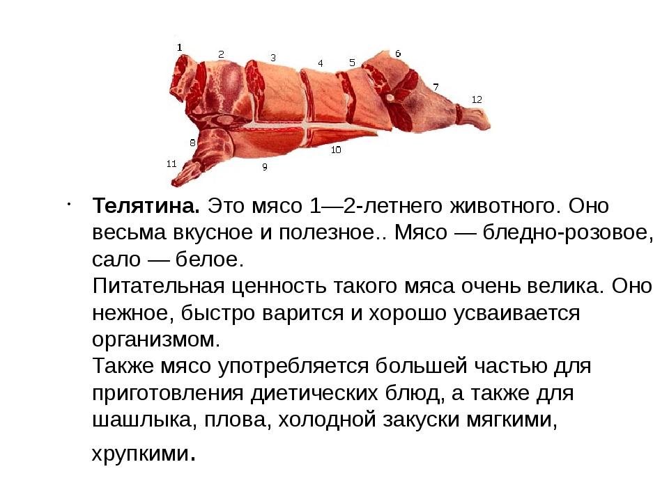 Телятина.Это мясо 1—2-летнего животного. Оно весьма вкусное и полезное.. Мя...