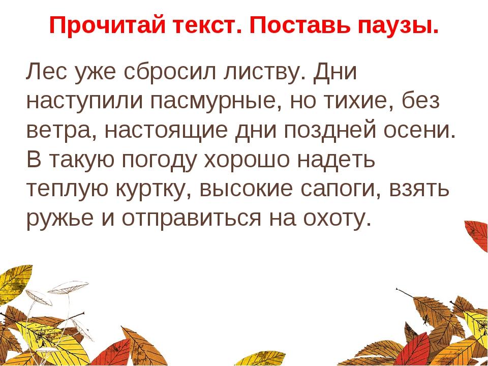 Прочитай текст. Поставь паузы. Лес уже сбросил листву. Дни наступили пасмурны...