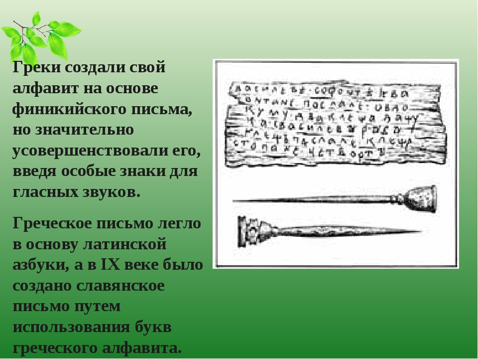 Греки создали свой алфавит на основе финикийского письма, но значительно усов...