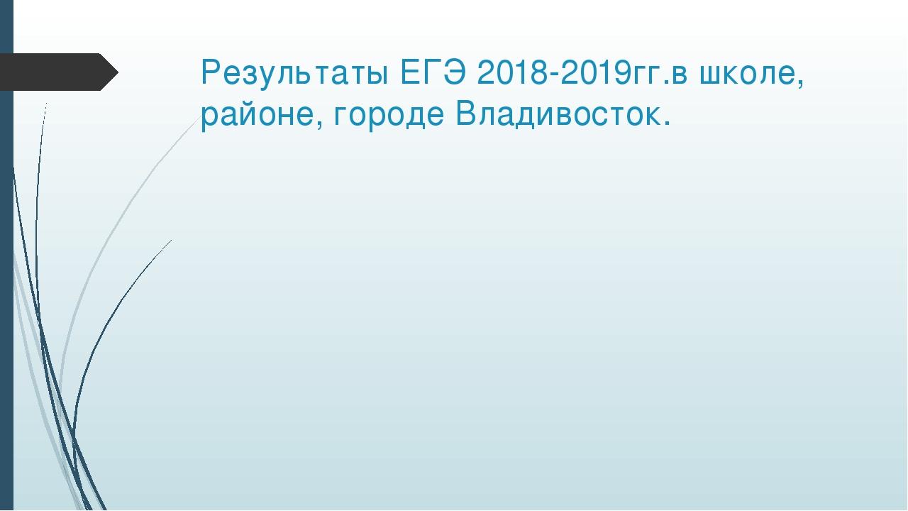 Результаты ЕГЭ 2018-2019гг.в школе, районе, городе Владивосток.