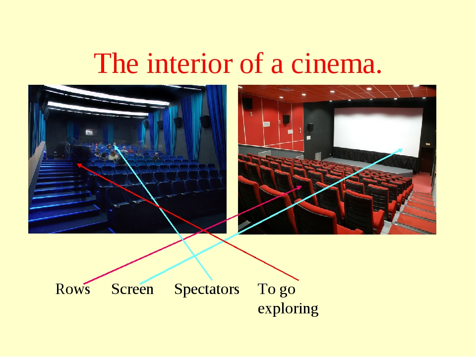The interior of a cinema. Rows Screen Spectators To go exploring