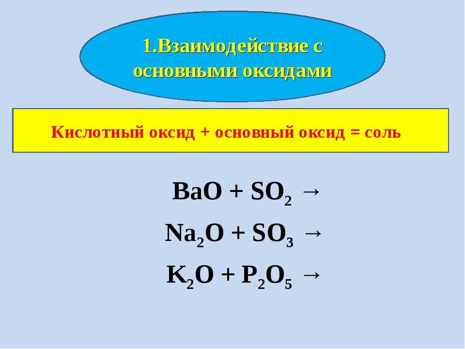 BaO + SO2 → Na2O + SO3 → K2O + P2O5 → 1.Взаимодействие с основными оксидами...