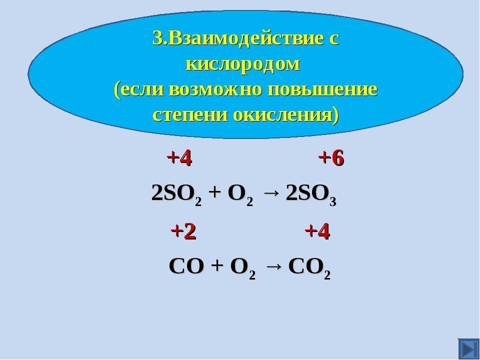 +4 +6 2SO2 + O2 → 2SO3 +2 +4 СО + О2 → СО2 3.Взаимодействие с кислородом (ес...