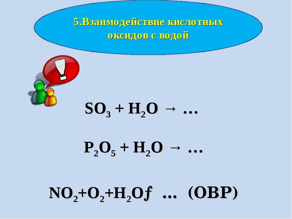 SO3 + H2O → … P2O5 + H2O → … NO2+O2+H2O→ … (ОВР) 5.Взаимодействие кислотных...