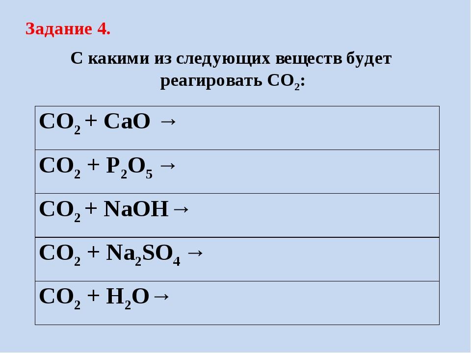 Задание 4. С какими из следующих веществ будет реагировать CO2: CO2 + CaO → C...