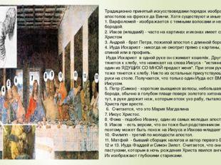 Традиционно принятый искусствоведами порядок изображения апостолов на фреске