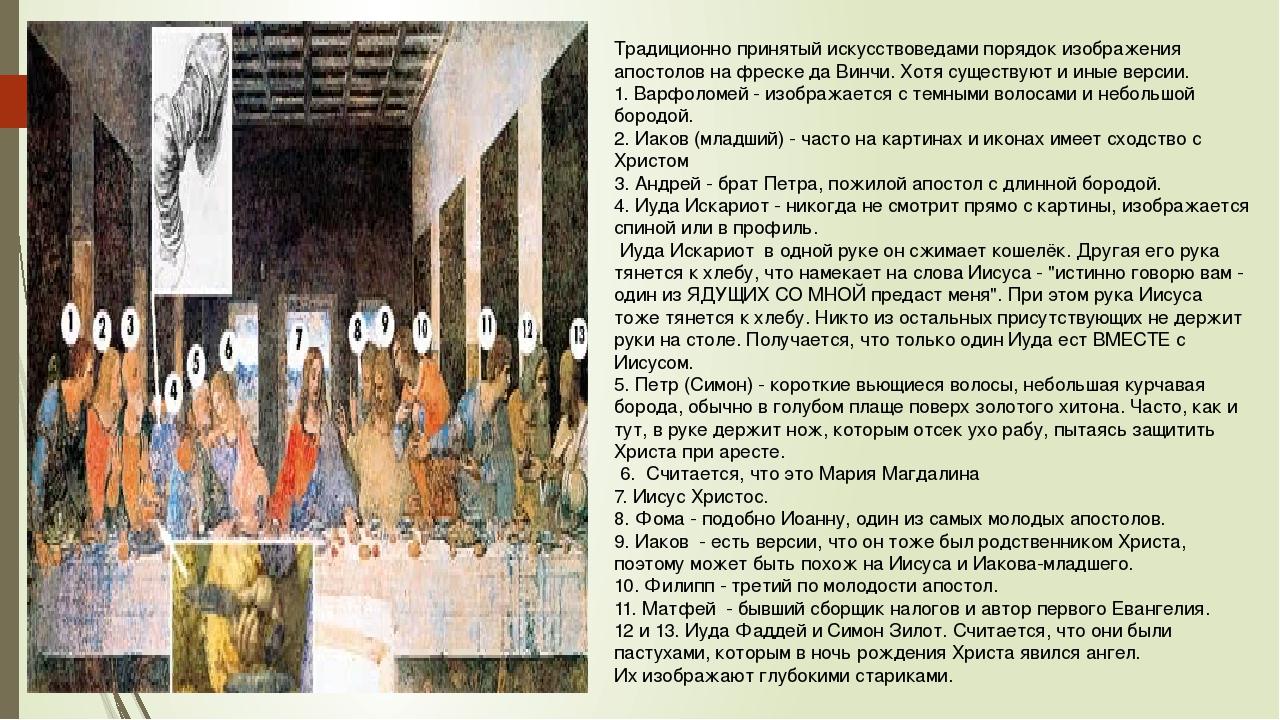 Традиционно принятый искусствоведами порядок изображения апостолов на фреске...