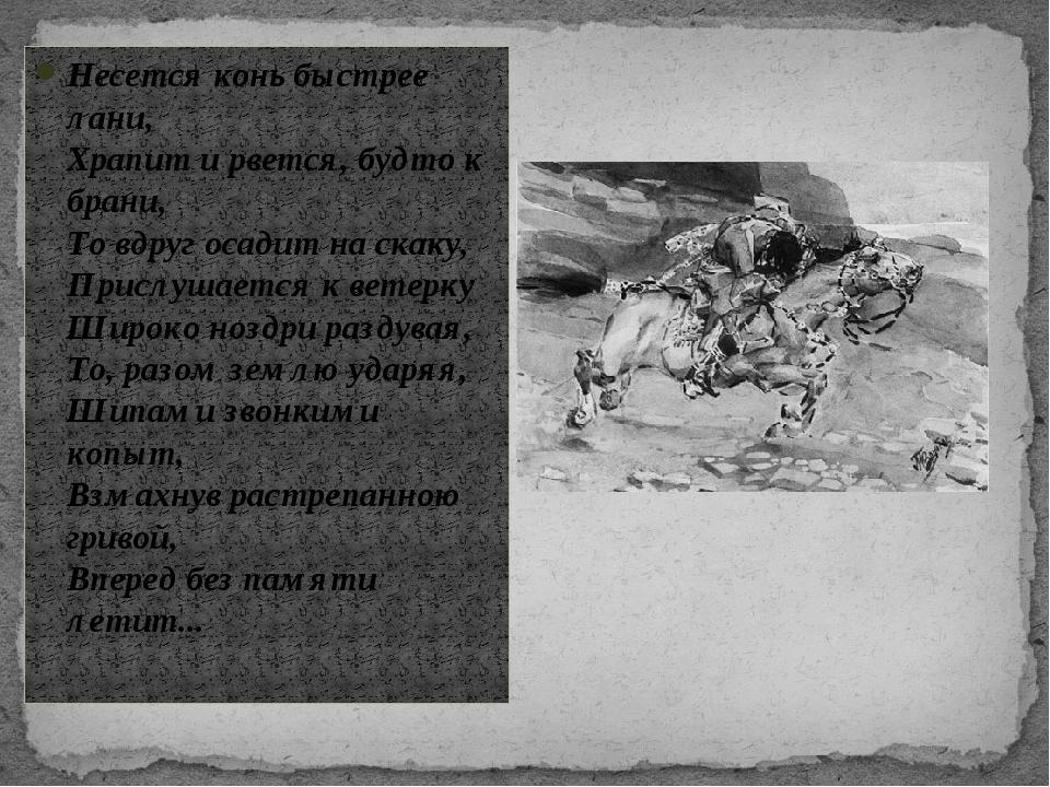 Несется конь быстрее лани, Храпит и рвется, будто к брани, То вдруг осадит на...