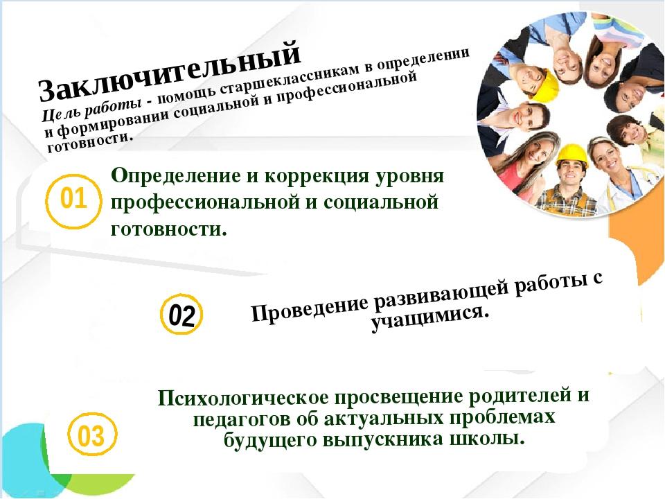 02 Проведение развивающей работы с учащимися. Заключительный Цель работы - п...