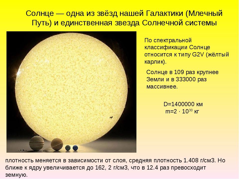 Солнце — одна из звёзд нашей Галактики (Млечный Путь) и единственная звезда С...