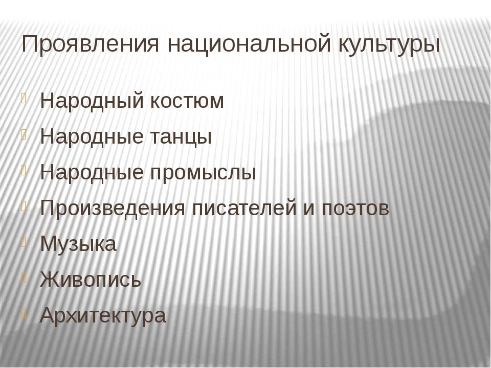 Проявления национальной культуры Народный костюм Народные танцы Народные пром...