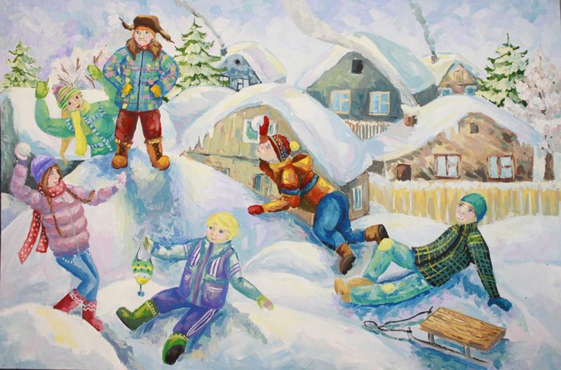 Люди зимой картинка для детей