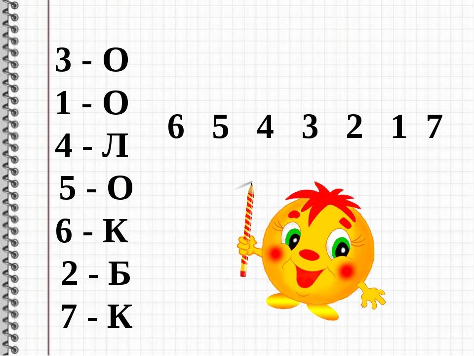 6 5 4 3 2 1 7 3 - О 1 - О 4 - Л 5 - О 6 - К 2 - Б 7 - К
