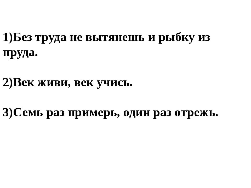 1)Без труда не вытянешь и рыбку из пруда. 2)Век живи, век учись. 3)Семь раз...