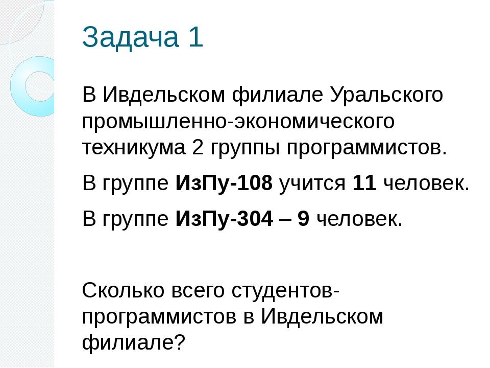 Задача 1 В Ивдельском филиале Уральского промышленно-экономического техникума...