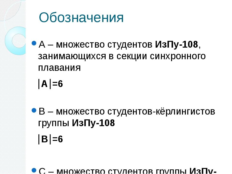 Обозначения А – множество студентов ИзПу-108, занимающихся в секции синхронно...