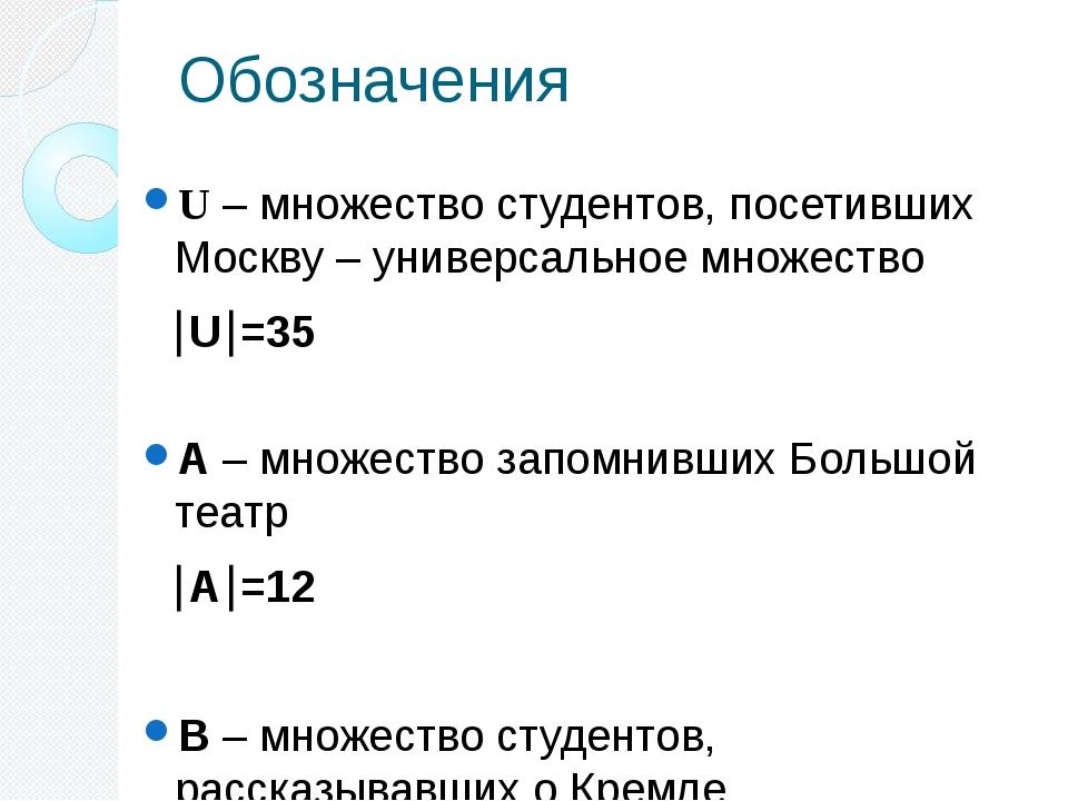 Обозначения U – множество студентов, посетивших Москву – универсальное множес...