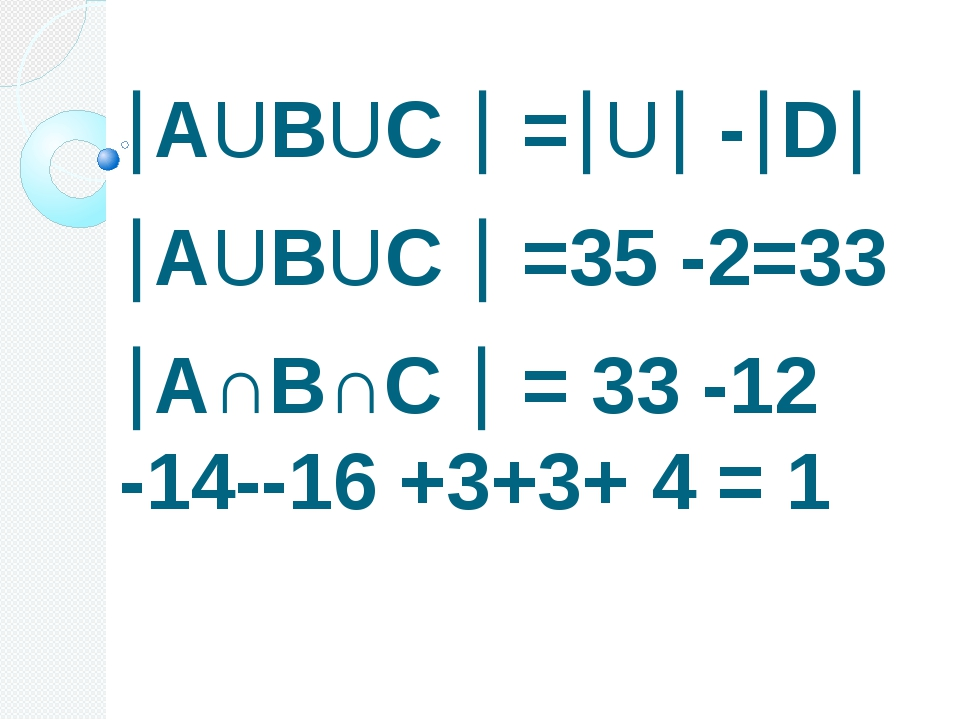 АUВUС  =U -D АUВUС  =35 -2=33 А∩В∩С  = 33 -12 -14--16 +3+3+ 4 = 1