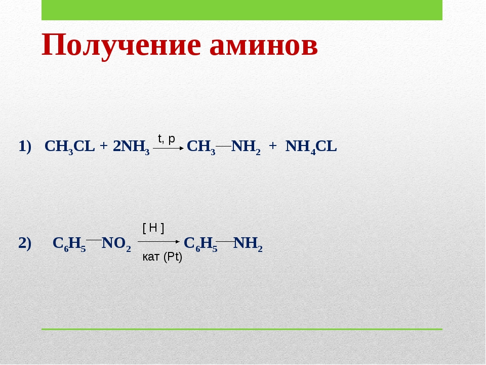 Получение аминов 1) CH3CL + 2NH3 CH3 NH2 + NH4CL 2) C6H5 NO2 C6H5 NH2 t, p [...