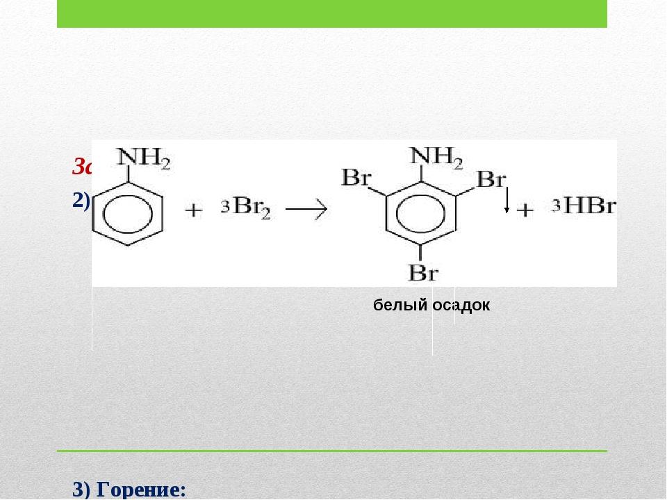За счет бензольного кольца: 2) бромирование (качественная реакция): 3) Горен...