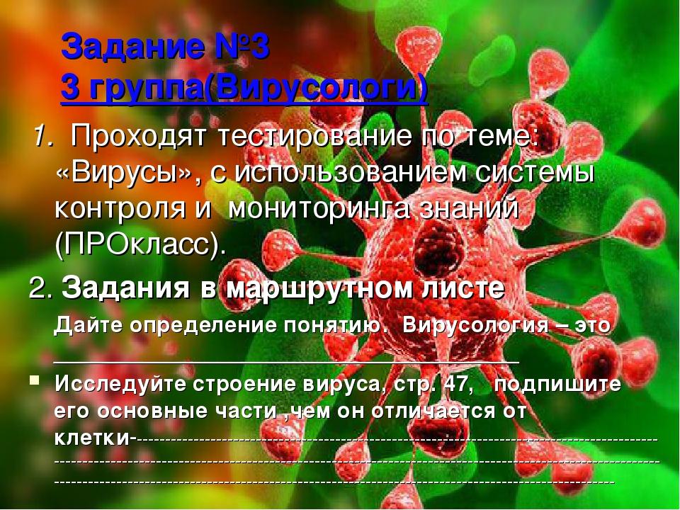 Задание №3 3 группа(Вирусологи) 1. Проходят тестирование по теме: «Вирусы», с...