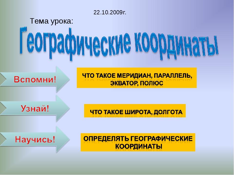 Тема урока: 22.10.2009г.