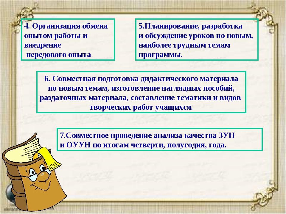 4. Организация обмена опытом работы и внедрение передового опыта 5.Планирован...