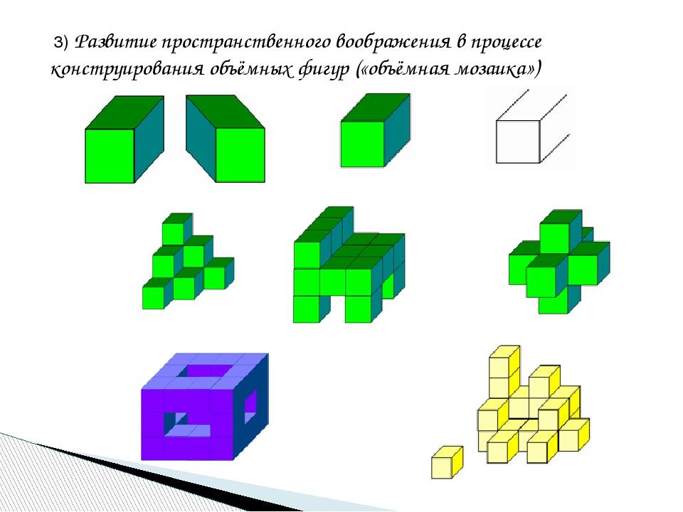 3) Развитие пространственного воображения в процессе конструирования объёмны...