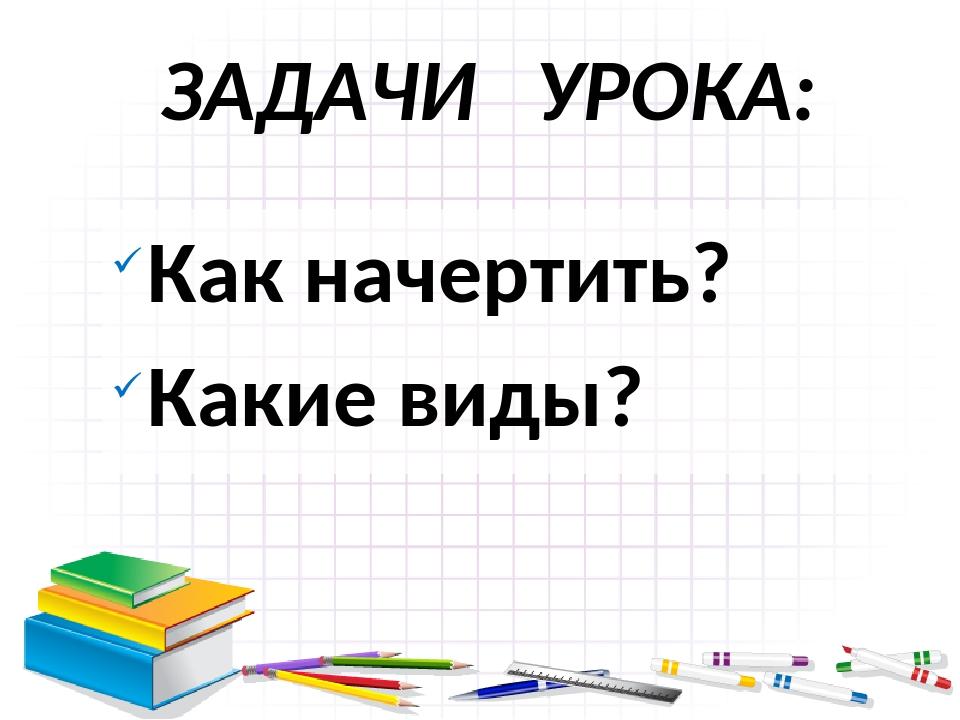 ЗАДАЧИ УРОКА: Как начертить? Какие виды?